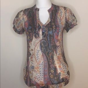 Daytrip Sheer Boho Beaded Blouse Small